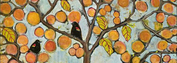 Blackbirds Painting - Birds In Paris Landscape by Blenda Studio