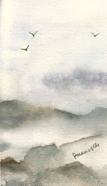 Wall Art - Painting - Birds In The Mist by Peggy Maunsell