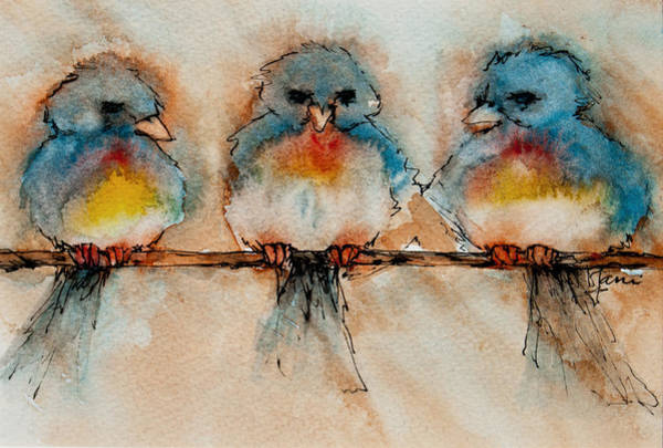 Roost Painting - Birds Of A Feather by Jani Freimann