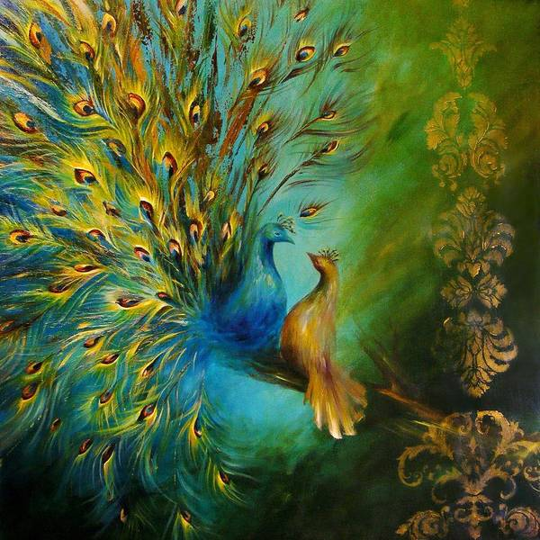 Peafowl Painting - Birds Of A Feather Peacocks 3 by Dina Dargo
