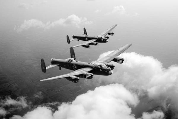 Photograph - Birds Of A Feather - Two Lancasters - Black And White Version by Gary Eason