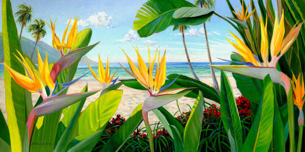 Tropical Flower Painting - Birds Of Paradise by Steve Simon