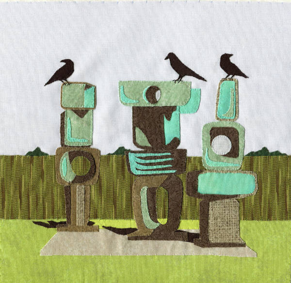 Mod Painting - Birds On Rocks by P.s