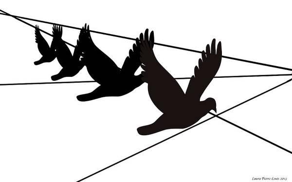 Wall Art - Digital Art - Birds On The Wire by Laura Pierre-Louis