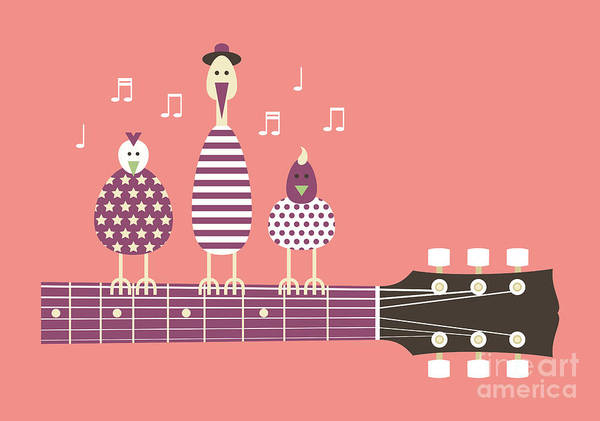 Wall Art - Digital Art - Birds Sing To The Guitar Neck, Vector by Ladislav Krajca