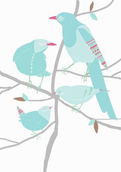 Individuality Digital Art - Birds With Patterns Perched On Branches by Alice Potter