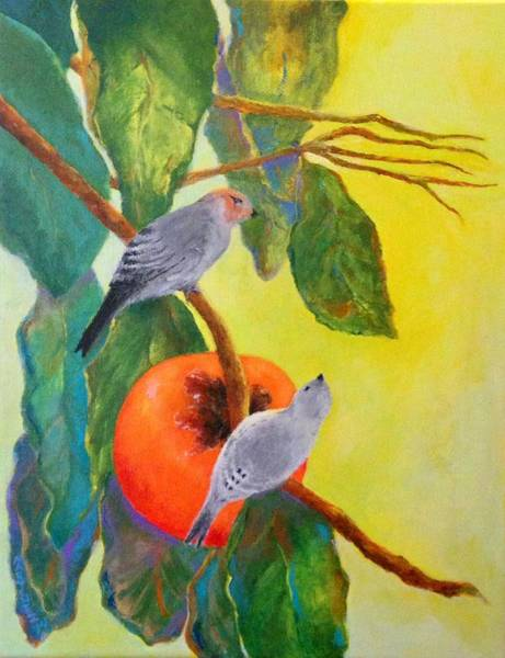 Persimmon Painting - Birds With Persimmon by John Martinez