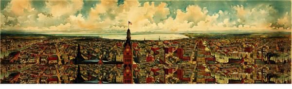 Wall Art - Painting - Birdseye Panorama Of Milwaukee 1898 by MotionAge Designs