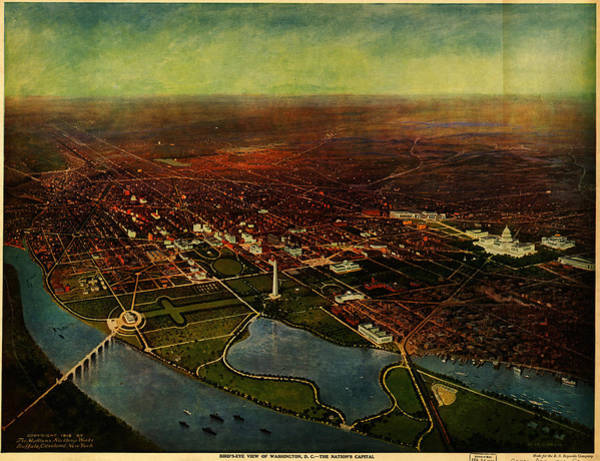 Painting - Birdseye View Of Washington 1916 by Celestial Images