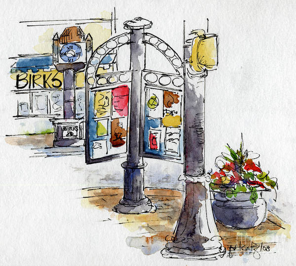 Painting - Birk's Clock Streetscape by Pat Katz