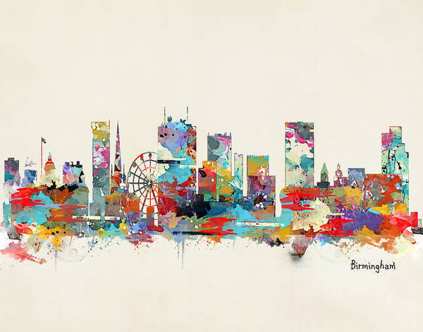 England Painting - Birmingham City Skyline by Bri Buckley
