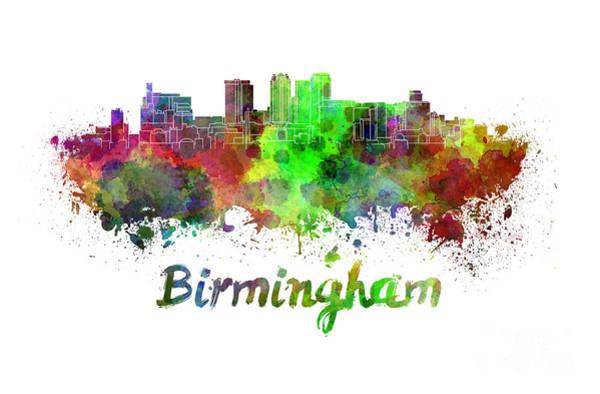 Alabama Painting - Birmingham Skyline In Watercolor by Pablo Romero