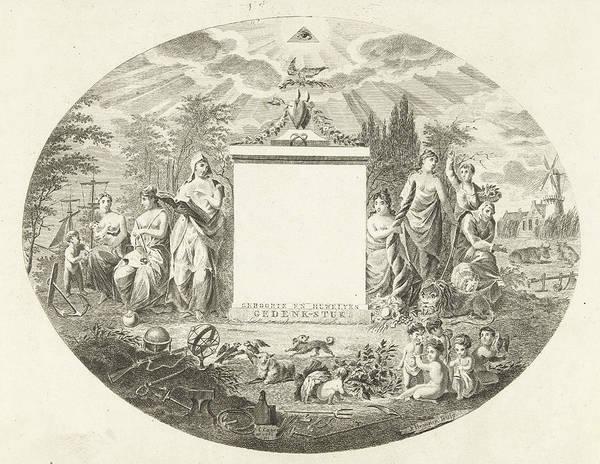 Allegorical Figure Drawing - Birth And Marriage Memorial Piece, Joannes Bemme by Joannes Bemme And J.f. De Ridder & Comp.