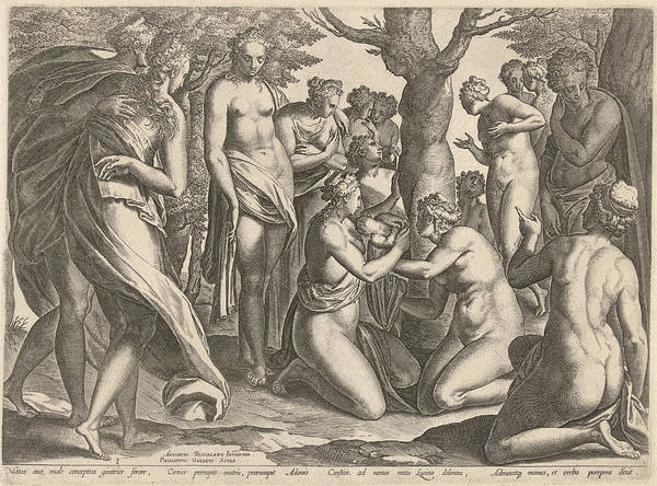 Pregnancy Drawing - Birth Of Adonis, Philips Galle by Philips Galle