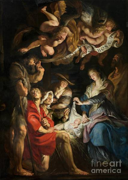 Birth Painting - Birth Of Christ Adoration Of The Shepherds by Peter Paul Rubens
