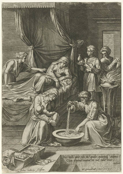Wall Art - Drawing - Birth Of The Virgin Mary, Julius Goltzius by Julius Goltzius And Victor Ghyslinck