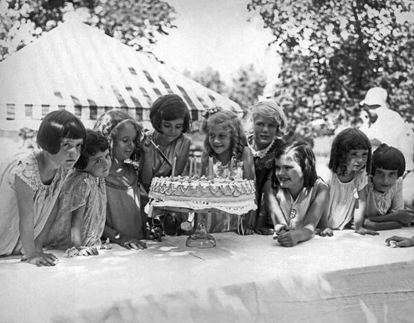 Photograph - Birthday Cake Girl And Friends by Underwood Archives