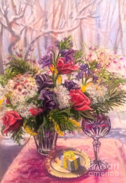 Painting - Birthday Flowers by Gail Allen