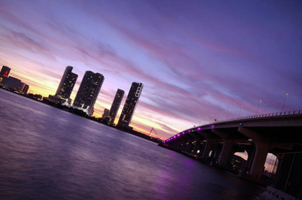 Biscayne Wall Art - Photograph - Biscayne Bay With Macarthur Causeway by Gregobagel