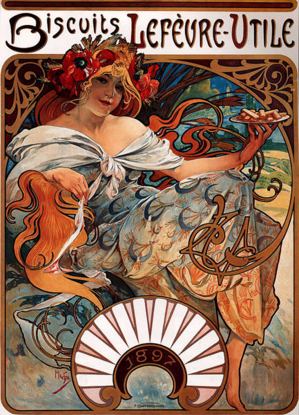 Alphonse Mucha Painting - Biscuits Lefeure Utile Poster by Philip Ralley