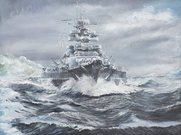 Battle Of The Atlantic Wall Art - Painting - Bismarck Off Greenland Coast  by Vincent Alexander Booth