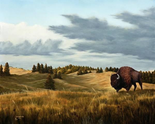 Skyscape Painting - Bison  Wind Cave Park  South Dakota by Rick Bainbridge