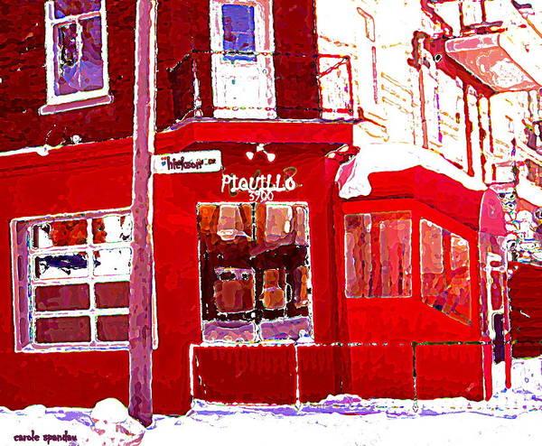 Quebec City Drawing - Bistro Piquillo Restaurant Cold Day In Verdun Winter Scene Urban Eateries Montreal Art C Spandau by Carole Spandau
