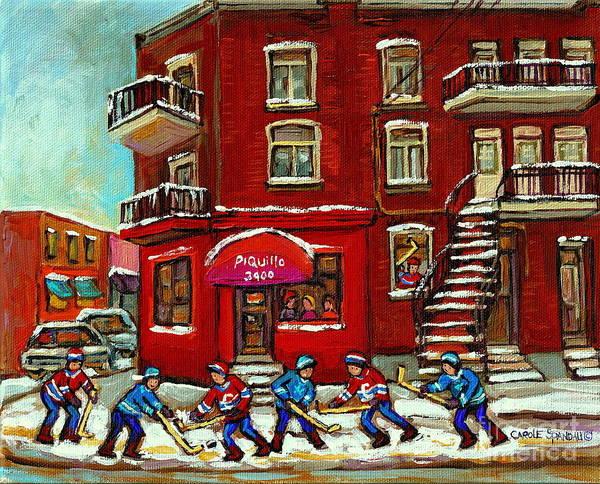 Painting - Bistro Piquillo Street Hockey Game Near The Resto Paintings Of Verdun Winter City Scenes Cspandau  by Carole Spandau