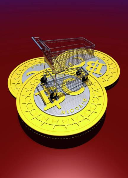 Commercialism Photograph - Bitcoins And Shopping Trolley by Victor Habbick Visions