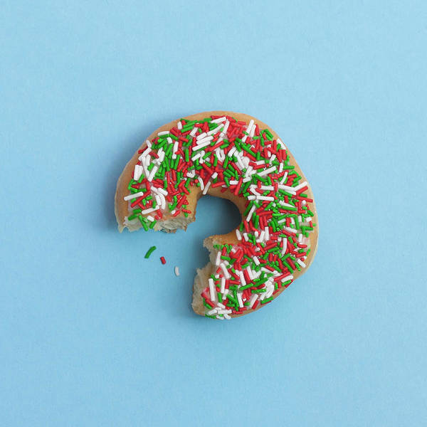 Excess Photograph - Bite Out Of A Sprinkle Donut, On A Blue by Steven Errico