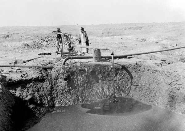 Oil Pump Photograph - Bitumen Well In Iraq by Library Of Congress