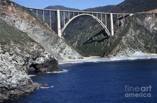 Photograph - Bixby Creek Bridge From Bixby Landing 1974 Photo By Pat Hathaway by California Views Archives Mr Pat Hathaway Archives