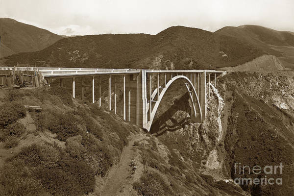 Photograph - Bixby Creek Bridge Highway One Big Sur California 1933 by California Views Archives Mr Pat Hathaway Archives