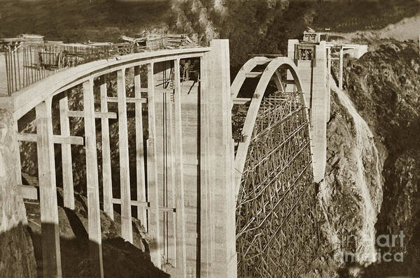 Photograph - Bixby Creek Bridge Under Construction Big Sur Coast On Highway One Calif. 1932 by California Views Archives Mr Pat Hathaway Archives
