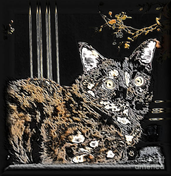 Mixed Media - Black And Brown Cat by Oksana Semenchenko
