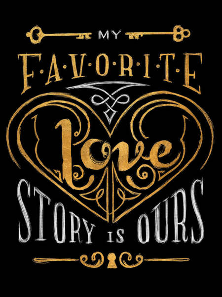 Gold Digital Art - Black And Gold Love Story by South Social Studio
