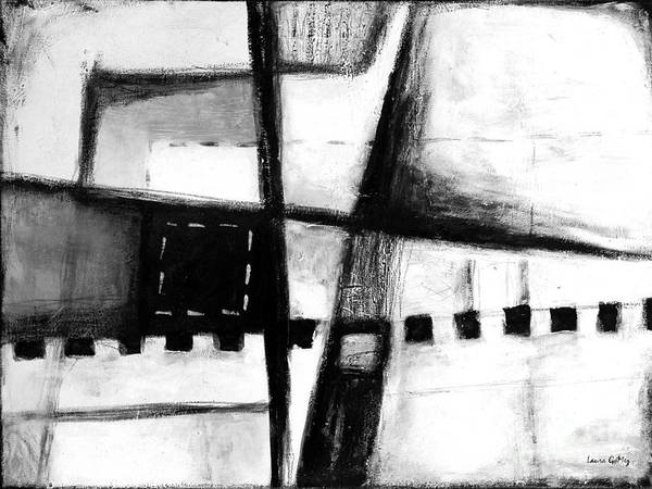 Blanco Y Negro Wall Art - Painting - Black And White Abstract Contemporary Minimal Art By Laura Gomez -horizontal Format by Laura  Gomez