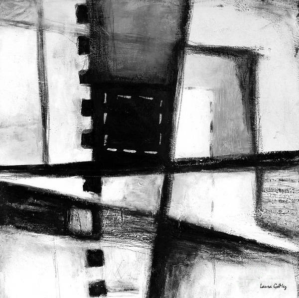 Blanco Y Negro Wall Art - Painting - Black And White Abstract Contemporary Minimal Art By Laura Gomez -square Format  by Laura  Gomez