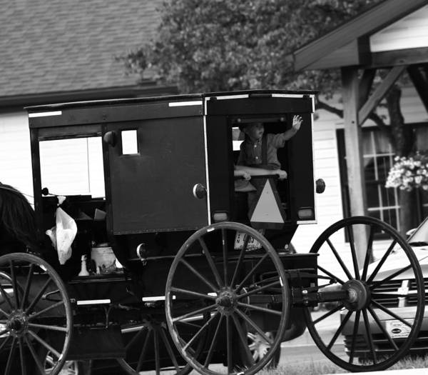 Berlin Ohio Photograph - Black And White Amish Buggy by Dan Sproul
