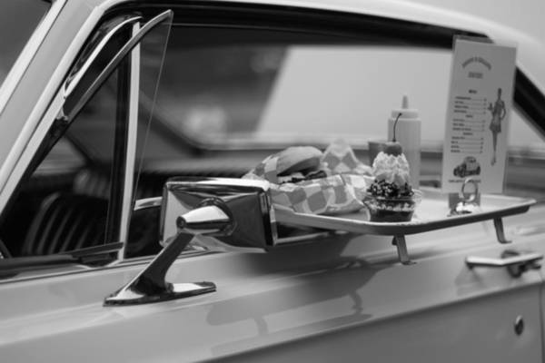 Thru Photograph - Black And White Carhop by Dan Sproul