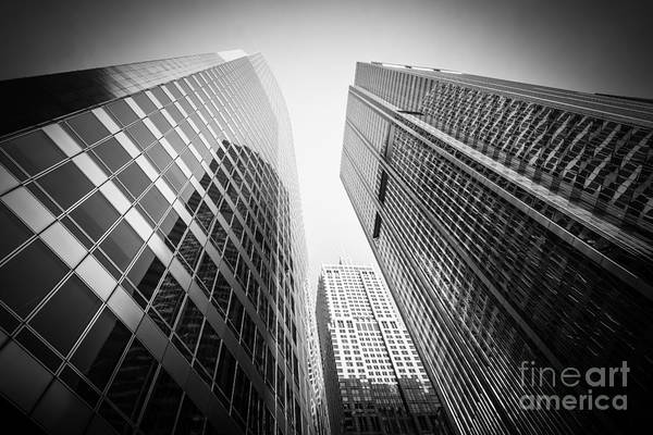 Between Photograph - Black And White Chicago Downtown City Office Buildings by Paul Velgos