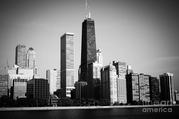 Skyline Wall Art - Photograph - Black And White Chicago Skyline With Hancock Building by Paul Velgos