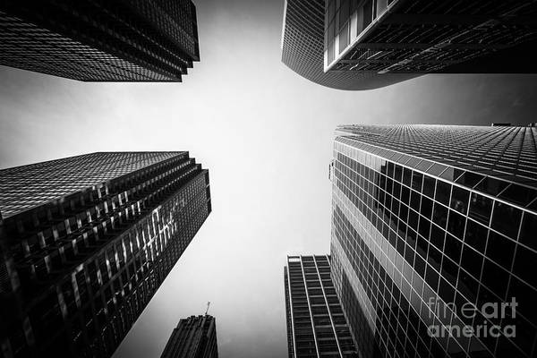 Between Photograph - Black And White Chicago Skyscraper Buildings by Paul Velgos