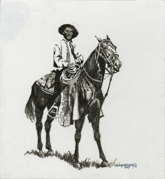 Wall Art - Painting - Black And White - Cowboy by Don  Langeneckert