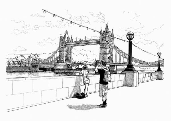 Wall Art - Photograph - Black And White Drawing Of Tourists by Ikon Images
