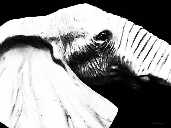 Painting - Black And White - Elephant Head Shot Art by Sharon Cummings