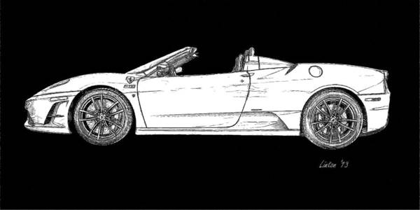 Digital Art - Black-and-white Ferrari by Larry Linton
