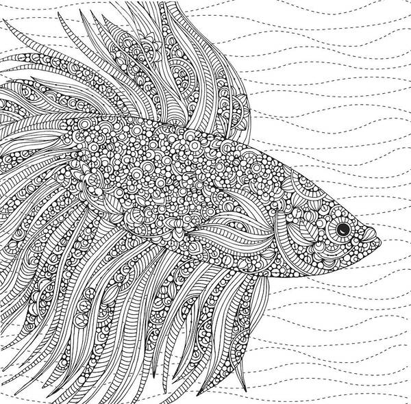 Graphics Drawing - Black And White Fish by MGL Meiklejohn Graphics Licensing