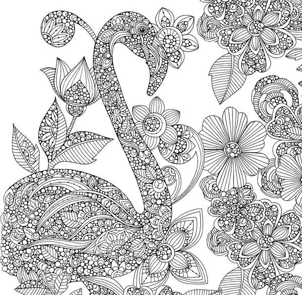 Graphics Drawing - Black And White Flamingo by MGL Meiklejohn Graphics Licensing