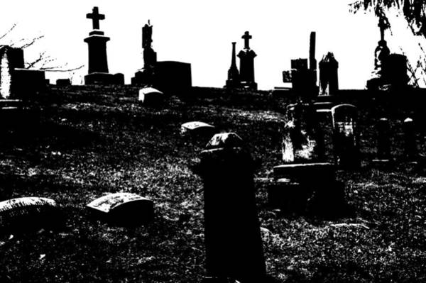 Photograph - Black And White Graveyard by Mike Murdock